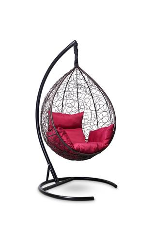 Подвесное кресло-кокон SEVILLA коричневое + каркас + бордовая подушка