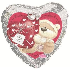 Шар Сердце «Мишка с сердечком» серебро 46 см