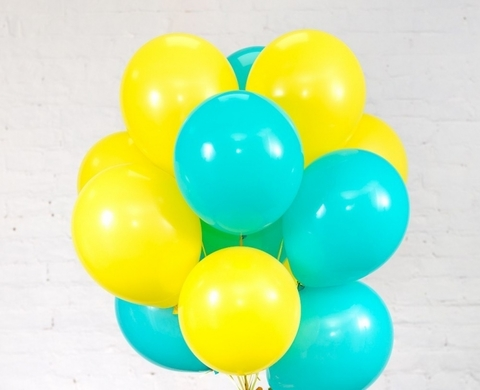 Воздушные шары с гелием Бирюзово-желтые