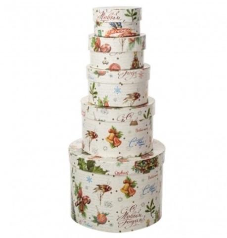 Набор коробок подарочных круглых Новогодняя ель, из 5шт, размер: D19xH13 см