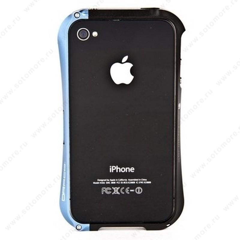 Бампер DRACO алюминиевый для iPhone 4 цвет черный+голубой