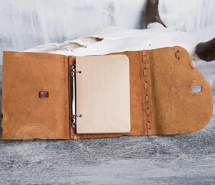 BY01-04-07 Кожаный подарочный блокнот «Лучник» с застежкой - клыком (А6) фото 07
