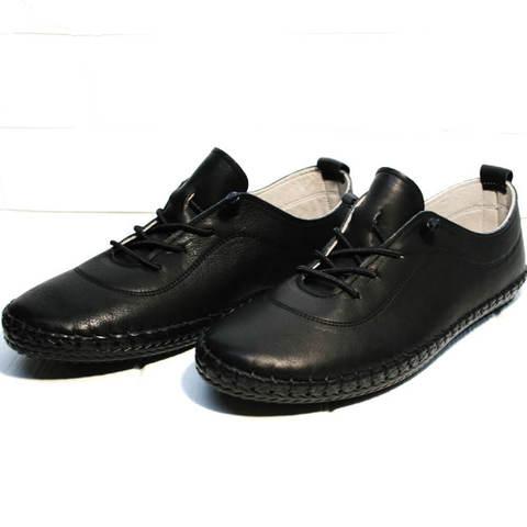 Кожаные кроссовки мокасины женские черные Evromoda Black