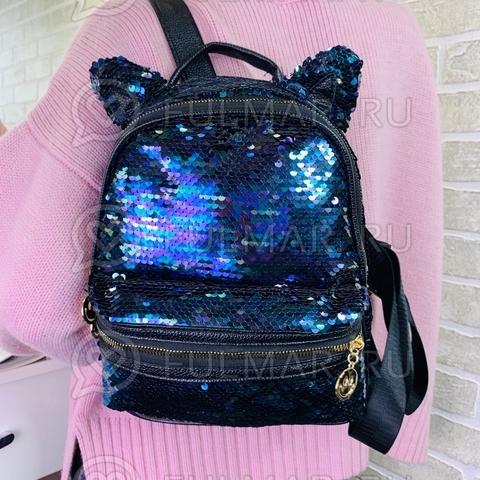 Рюкзак с кошачьими ушками в двусторонних пайетках (цвет: Синяя русалочка)