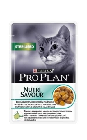 Pro Plan Sterilised - для стерилизованных кошек кусочки в желе, с океанической рыбой 85г.