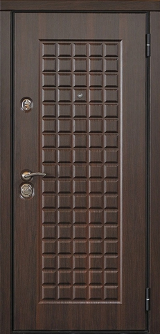 Дверь входная Стальная линия Токио стальная, орех темный, 2 замка