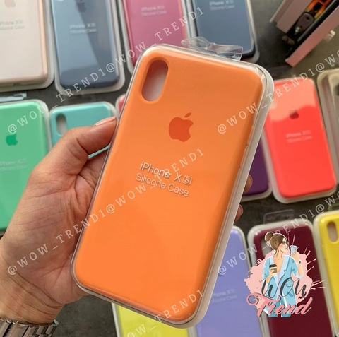 Чехол iPhone X/XS Silicone Case Full /papaya/ папая