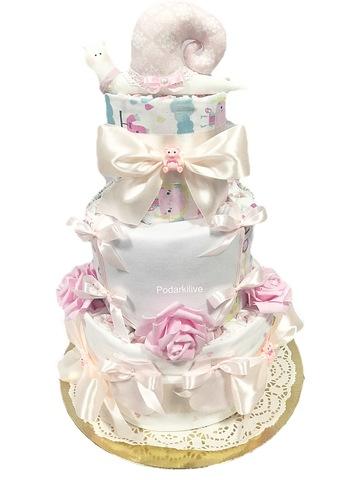 Торт из подгузников для девочки