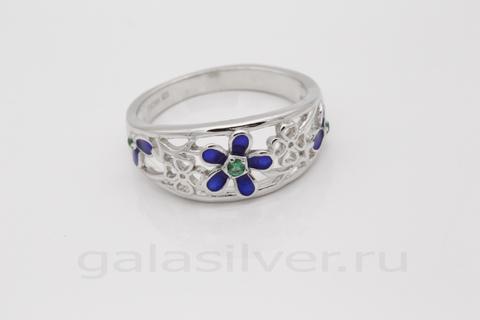 Кольцо с эмалью и цирконом из серебра 925