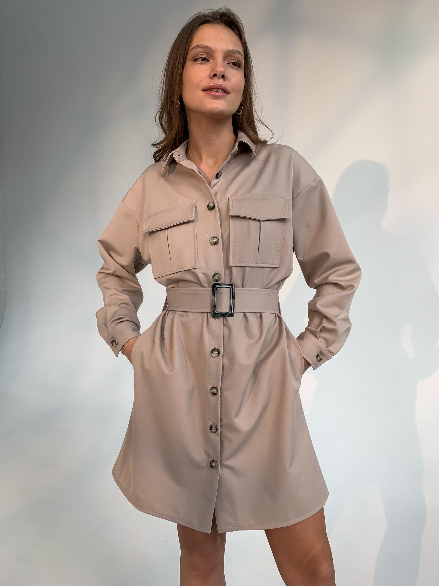 Платье-рубашка мини с поясом (бежевый)