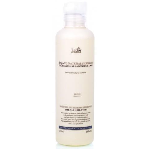 Профессиональный натуральный шампунь для волос с нейтральным pH балансом La'dor Triple x3 Natural Shampoo, 150 мл