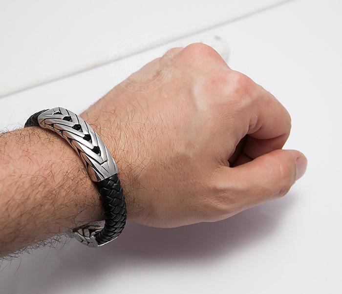 BM480 Крупный мужской браслет из плетеной кожи и стали (21 см) фото 09