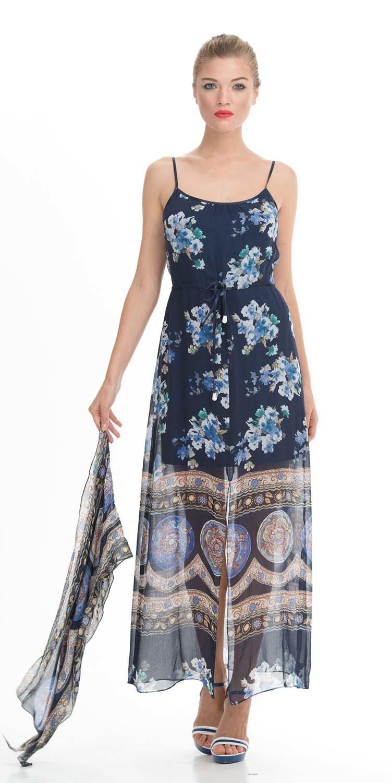 Платье З001а-514 - Длинное, вискозное с крупными цветами платье незаменимая вещь в вашем летнем гардеробе.Оригинальный дизайн этой модели выгодно подчеркнет достоинства фигуры. Платье состоит из двух частей: короткий чехол однотонного цвета и длинная, прозрачная юбка с крупным рисунком, которая откроет ноги, но в то же время придаст образу загадочности. Тонкие бретели подчеркивают красивый изгиб шеи. Это платье можно носить как с каблуками на романтическое свидание, так и с балетками и босоножками в повседневной жизни.Легкая ткань и приталенный силуэт делают образ женственным и изящным.