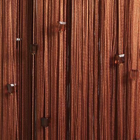 Кисея с бусинами (кубики) - Светло-коричневая. Ш-300см., В-280см. Арт.10