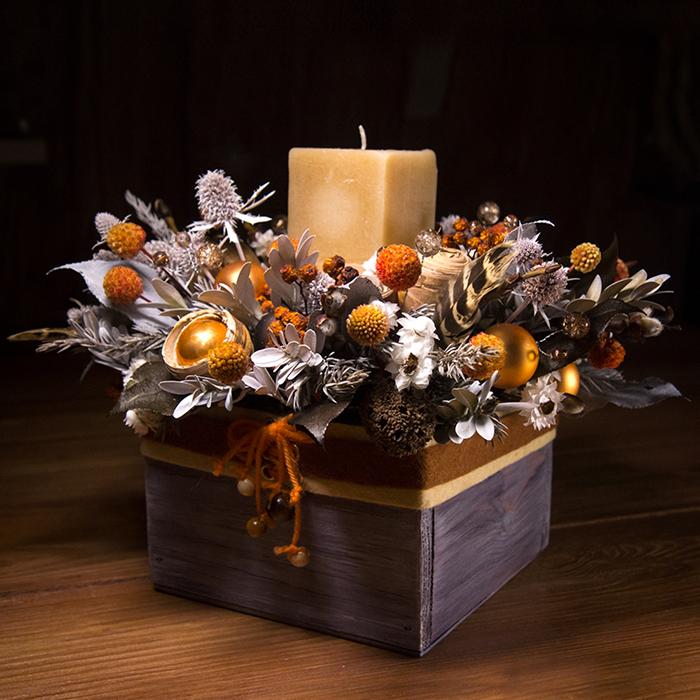 Новогодний декор в стиле ретро оранжевый серебро мандарины рябина свеча Пермь