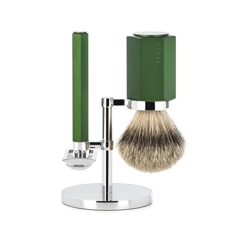 Бритвенный набор MUEHLE HEXAGON, зеленый, барсучий ворс высшей категории Silvertip, Т-образная бритва