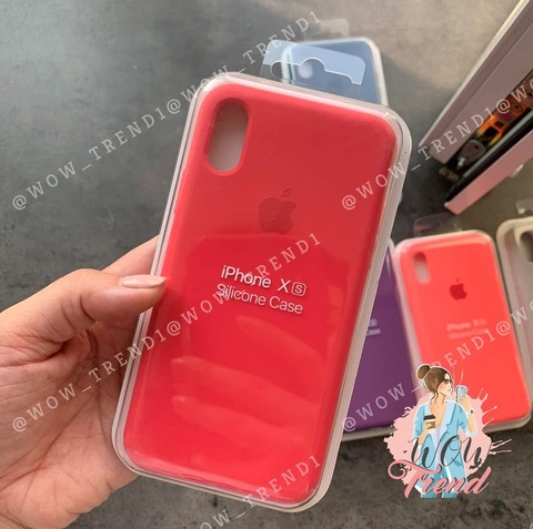 Чехол iPhone X/XS Silicone Case Full /red raspberry/ ягодный