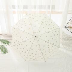 Женский зонт-трость, ручка-крюк, 8 спиц Yoco (Япония) бежевый принт- бантики