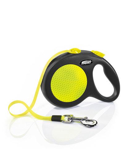 Flexi поводок-рулетка New Neon M (до 25 кг) лента 5м (лимонный)
