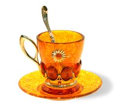"""Янтарная чашка для кофе в наборе из 3 предметов, серия """"Летнее настроение"""""""