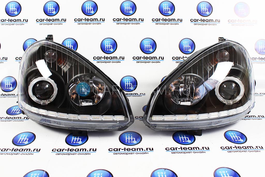 Фары передние на Лада Приора черные, 2 би-линзы + ДХО с поворотниками аля-лексус