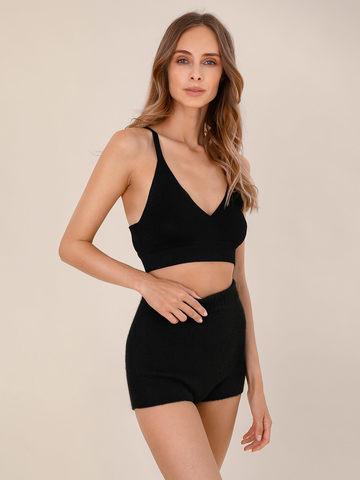 Женские шорты черного цвета из 100% кашемира - фото 4