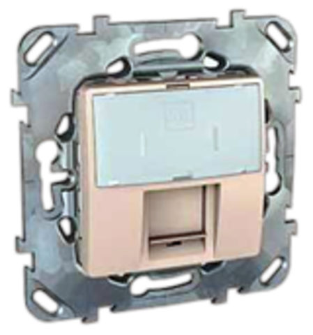 Розетка Компьютерная 1хRJ45 кат. 5е. Цвет Бежевый. Schneider electric Unica. MGU5.421.25ZD