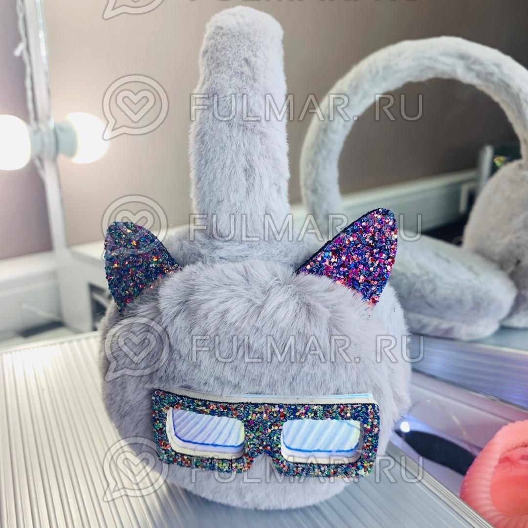 Ободок на уши Плюшевый с блёстками Котик в очках (цвет: Серый) фото