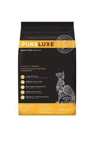 купить PureLuxe Elite Nutrition for indoor cats with salmon & split peas сухой корм для взрослых домашних кошек всех пород с лососем и горошком