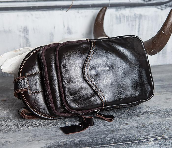 BAG420-2 Крутая мужская сумка из кожи с одной лямкой фото 02