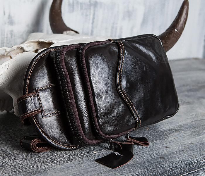 BAG420-2 Крутая мужская сумка из кожи с одной лямкой фото 03