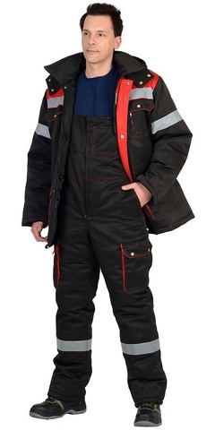 Костюм зимний: куртка дл., п/комб. черный с красным и СОП-50мм.
