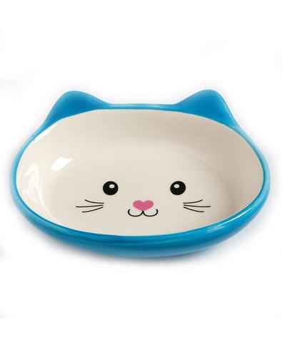 №1 Миска керамическая кошачья мордочка (голубая)