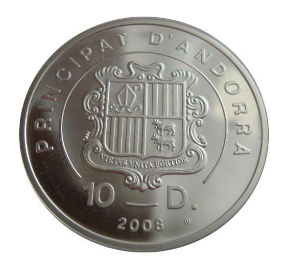 Андорра 10 динаров 2008 Кайтбординг Кайтсёрфинг Xtreme СЕРЕБРО