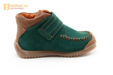 Ботинки для мальчиков кожаные Лель (LEL) на липучке, цвет зеленый. Изображение 4 из 14.