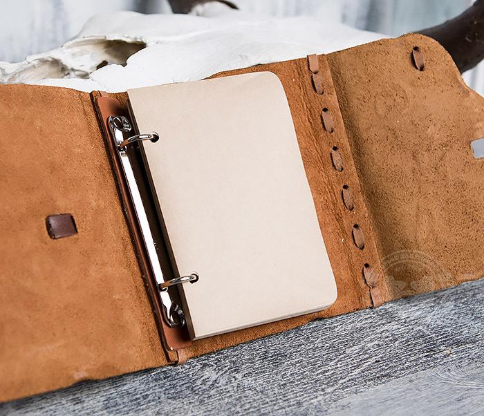 BY01-04-07 Кожаный подарочный блокнот «Лучник» с застежкой - клыком (А6) фото 08