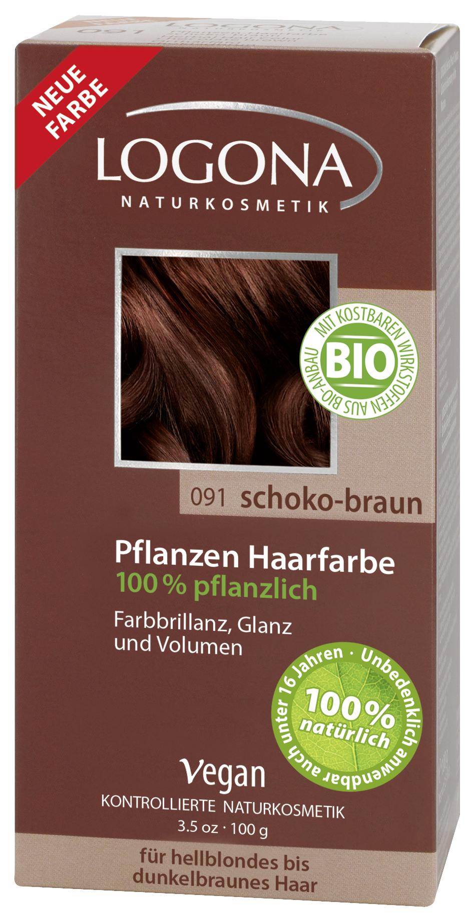 LOGONA растительная краска для волос 091 «ШОКОЛАДНО-КОРИЧНЕВЫЙ»