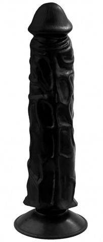 Черный гелевый фаллоимитатор на присоске №9 - 19,5 см.
