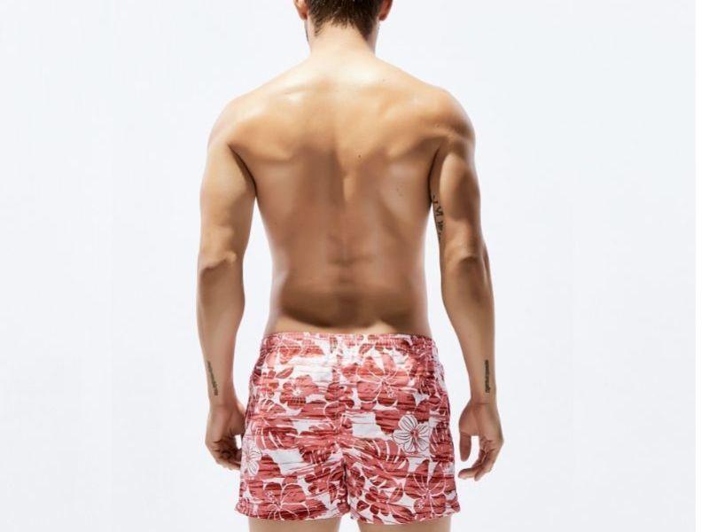 Мужские пляжные шорты белые с красным цветочным принтом SEOBEAN 30241