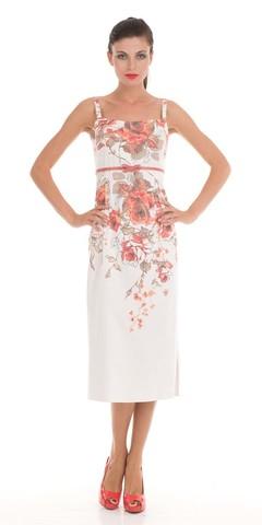 Фото хлопковое длинное платье на бретелях с цветочным принтом - Платье З014а-599 (1)
