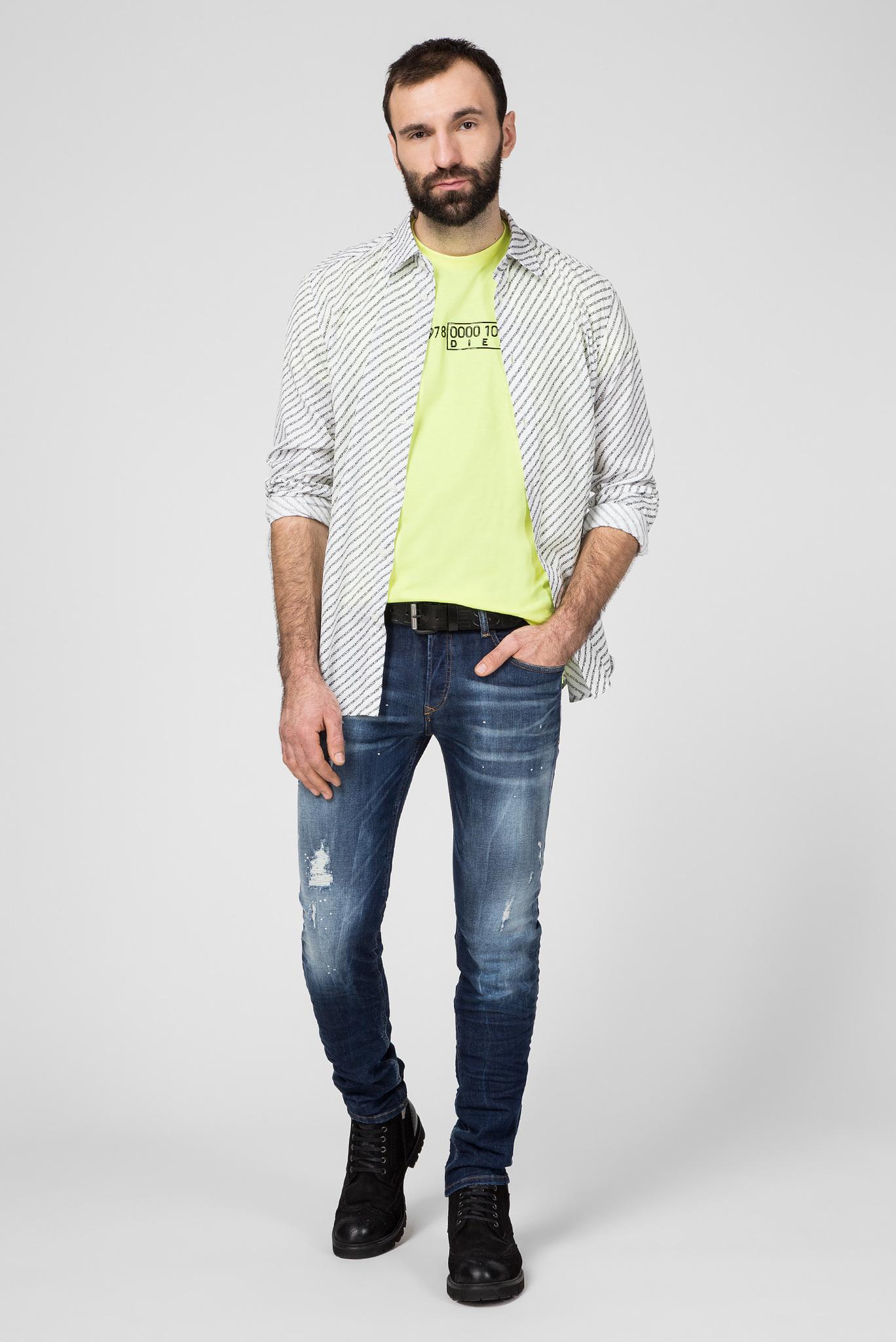 Мужская салатовая футболка T-DIEGO-SLITS-J6 Diesel