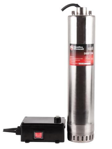 Глубинный насос QUATTRO ELEMENTI Deep  750 (750 Вт, 4500 л/ч, для чистой, 40 м, 11,65кг, нерж.корпус, провод 20м)