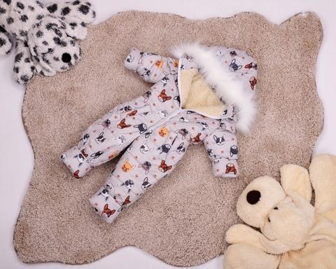 Комбинезон сдельный детский зимний на овчине Look Собачки