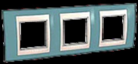 Рамка на 3 поста. Цвет Синий/Бежевый. Schneider electric Unica Хамелеон. MGU6.006.573