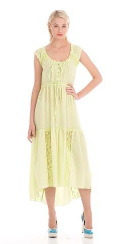 Фото салатовое платье с круглой горловиной и завышенной талией на кулисе - Платье З015-182 (1)