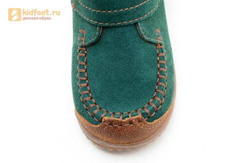 Ботинки для мальчиков кожаные Лель (LEL) на липучке, цвет зеленый. Изображение 10 из 14.