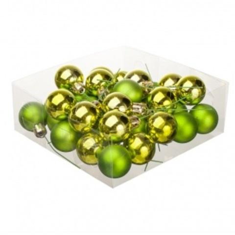 Набор шаров елочных на проволоке 32шт. (пластик), D3см, цвет: зелёный