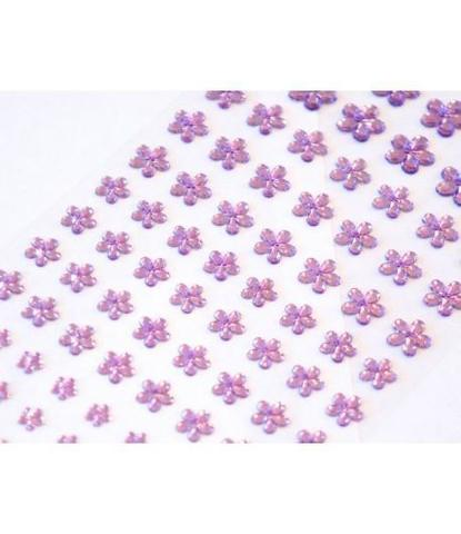 Стразы самоклеющиеся цветочки разного размера 78 шт лиловые