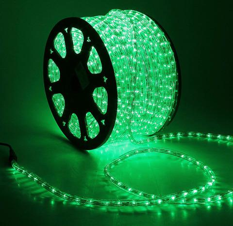 Дюралайт светодиодный, чейзинг, 11мм - 3 жилы - 24 led/m, Зеленый - 100м