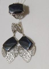 Одетта Ц(кольцо + серьги из серебра)